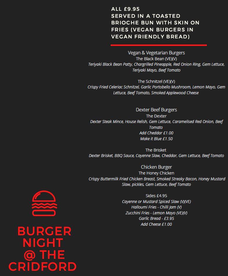 Friday Burger Night Takeaway Menu